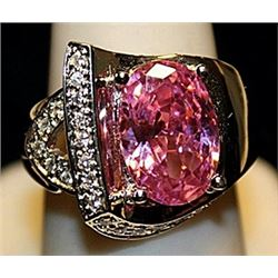 Gorgeous Pink Lab Sapphires & White Topaz SS Ring. (517L)