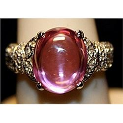 Gorgeous Pink Lav Sapphire & White Topaz SS Ring. (526L)