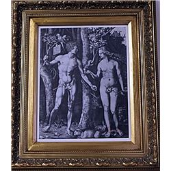 Framed Albrecht Dürer-Adam and Eve Engraving (16E-EK)