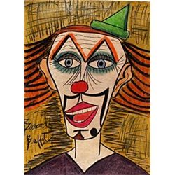 Clown - Pastel Drawing on Paper -Bernard Buffet