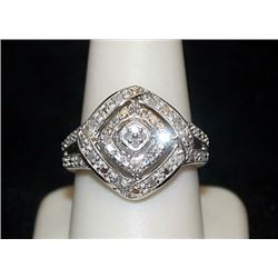 Lady's Fancy Silver Ring with Diamonds (82I)