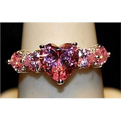 Beautiful Pink Lab Sapphires Sterling Silver Ring. (539L)