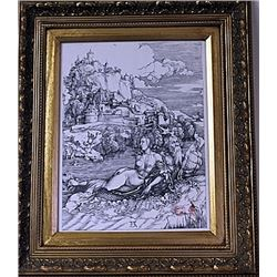 Framed Albrecht Dürer-The Sea Monster Engraving (36E-EK)