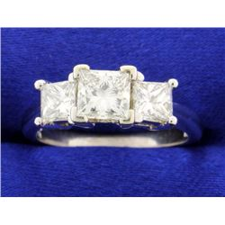 2.10 carat three stone diamond ring