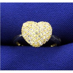 White Sapphire Pave Heart Ring mounted in 14k Yellow Gold over Sterling Silver