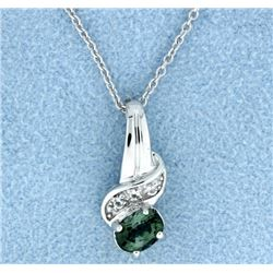 Tourmaline & Diamond pendant with chain