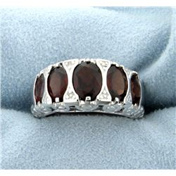 Garnet Statement Ring in Rhodium over Sterling Silver