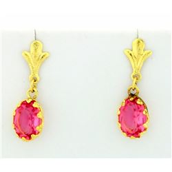 Brushed Gold earrings with Pink Topaz stones
