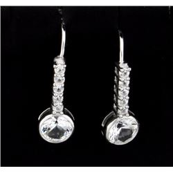 Brilliant White Sapphire Earrings set in Sterling Silver