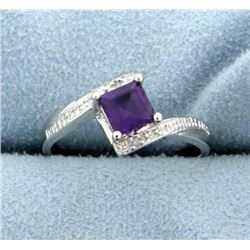 Amethyst and Diamond Ring in Platinum over Sterling Silver