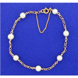 Cultured Pearl & Gold Link Bracelet