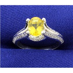 Yellow Sapphire & Diamond 14k White Gold Ring