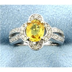 2.90 ct Yellow Sapphire Oval 14k Ring with Approx. 0.60ct Diamonds
