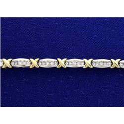 Diamond 1 Carat White & Yellow 10k Bracelet