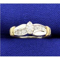 Diamond White and Yellow Gold 10k Ring