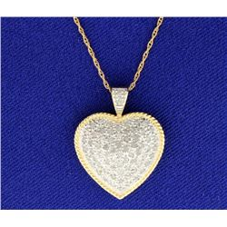 Diamond Yellow and White Gold 1 CT Heart Pendant