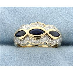 Sapphire & Diamond 14k Yellow Gold Ring