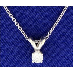 Diamond 14k White Gold Solitaire Pendant