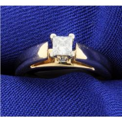 Princess Cut Diamond Solitaire 14k Ring