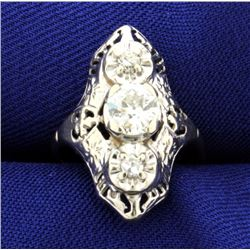 Vintage 3-Diamond 14K White Gold Filigree Ring