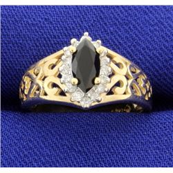 14 K Onyx and Diamond Ring