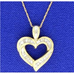 Diamond Heart 10K Pendant with 13 Brilliant Cut Diamonds with chain