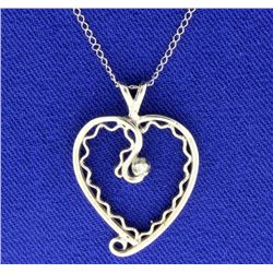 14K Diamond Heart Pendant & 14K Chain