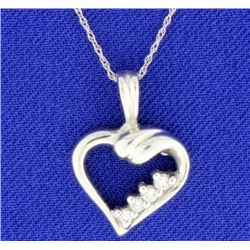 Diamond 14K White Gold Heart Pendant