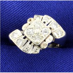Vintage 14K Diamond White Gold Ring