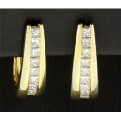 1 Carat 14K Princess Cut Diamond Hoop Earrings