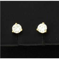 1/2 Carat 14K Yellow Stud Earrings