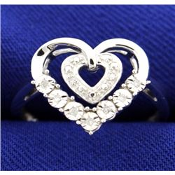 Diamond and Sterling Silver Heart Ring