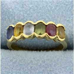 18k Yellow Gold Rainbow Gemstone Ring