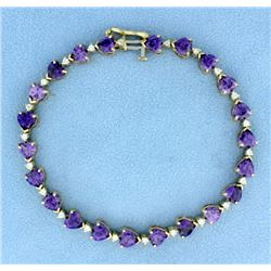 Amethyst Heart and Diamond Line Bracelet