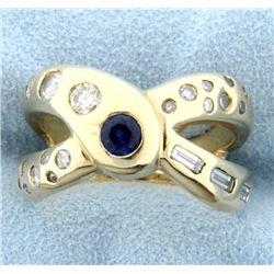 Custom Designer Sapphire and .75 ct Diamond Ring