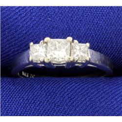 1ct Total Weight Three Stone Princess Cut Diamond Ring