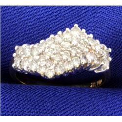 3/4ct Total Weight Diamond Cluster Ring