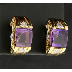 Large Amethyst & Diamond Earrings