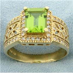 2.5ct Peridot & Diamond Ring