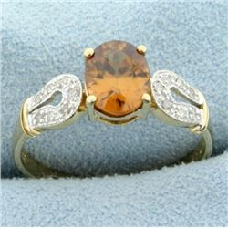 1.5ct Citrine and Diamond Ring