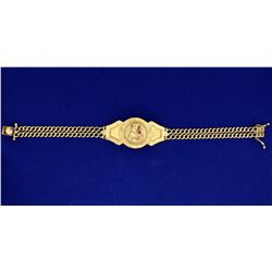 8 Inch Gold Virgin Mary Bracelet With Ruby