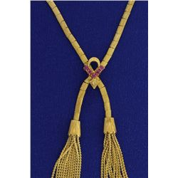 18k Lariat Tassel Necklace with Rubies