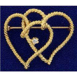 Double Heart Diamond Pin
