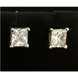 1.2ct TW Princess Cut Diamond Stud Earrings