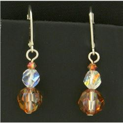 Sterling Silver Dangle Crystal Bead Earrings