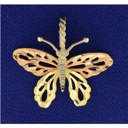 Rose, Yellow, and White Gold Butterfly Pendant