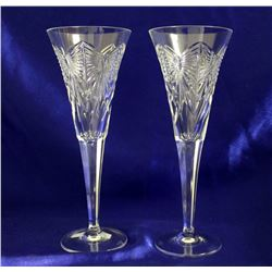 Waterford Millennium Series Fluted Crystal Champagne Toasting Glasses- Set of 2