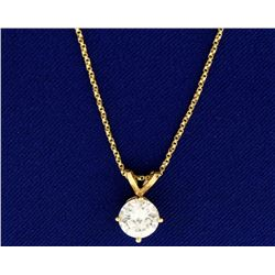 1.5ct CZ on 14k Gold Chain