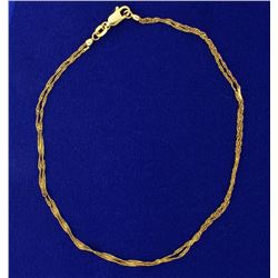 Italian Made Double Strand Gold Rope Anklet