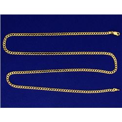 Italian Made 24 Inch Flat Curb Link Neck Chain
